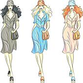 Clipart of Vector beautiful fashion girls top models in dresses ...