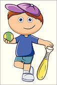 Stock Illustration of kid playing cricket k7805137 ...