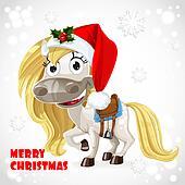 Clip Art of Cute Santa Horse on Christmas card k15405526 - Search ...