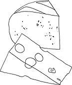 Käse clipart schwarz weiß  Clipart - hand, gezeichnet, aufgeschnitten, mango, (vector ...