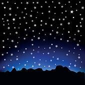 Clipart - sternenhimmel, und, berglandschaft k15494903 ...