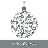Clip art of elegant christmas balls decoration in retro for Weihnachtskugeln vintage