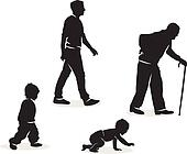 Drawing of Silhouettes depicting the human lifecycle from ...