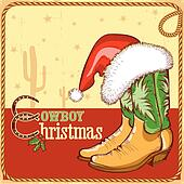 Clipart of Christmas Cowboy boots and western hat with holiday ...