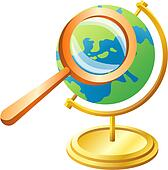 Clipart of magnifying glass, globe, earth, traveling ...