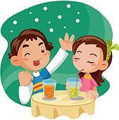 Couple, boire, boisson, boisson, date