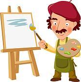 Gemälde clipart  Clipart - lackierer, segeltuch, staffelei, gemälde, voll, alter ...