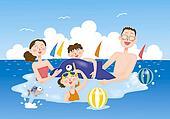 Stock Illustration - a, familie, genießen, meer, baden ...