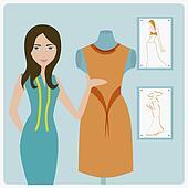 Stock Illustration of Portrait of a female fashion designer ...