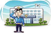 Polizeiwache clipart  Stock Illustration - begrüßung, polizist, uniform, hand, gruß ...