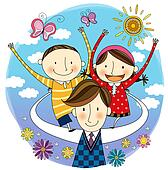 Clipart of Father carrying children on his back u17647021 - Search ...