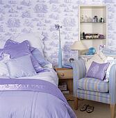Banque De Photo Blue White Toile De Jouy Oreillers Et Dredon Sur Limed Bois Lit
